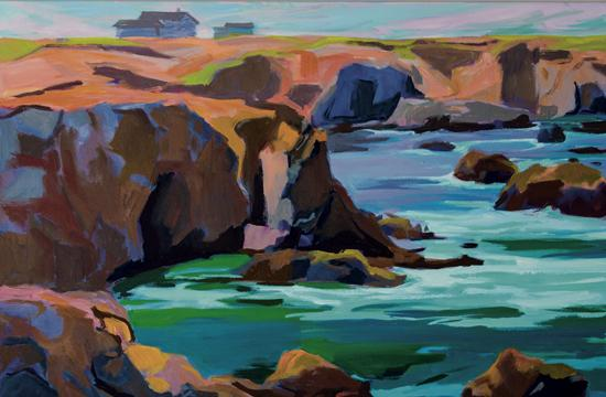"""Alison Lowe Platt's """"Coastline"""" is a 40 x 44 inches oil on canvas."""