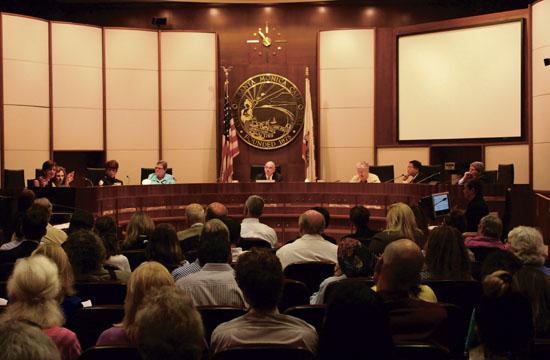 Congressman Henry Waxman (center) at Monday's gun violence forum held at Santa Monica City Hall.