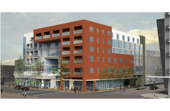 A rendering of the Courtyard by Marriott hotel proposed for the corner of Colorado Avenue and 5th Street in downtown Santa Monica.