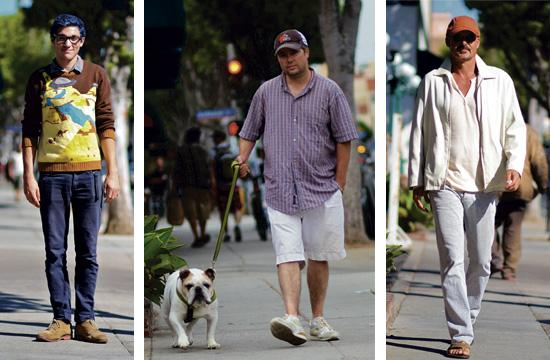 Ty (left) lives in Malibu. His first shopping stop on Main Street was Buffalo Exchange. Rich (center) and his English Bulldog Benny are both Santa Monica locals for more than 10 years. They are also Cleveland Browns fans (Cleveland Brown's mascot is a Bulldog). A Santa Monica local (right) keeping it clean in all white. He is wearing a Paul Smith jacket