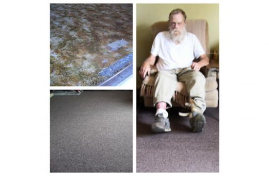 Robert Smillie with his new carpeting. Top left: what his floor used to look like. Bottom left: What the floor looks like now.