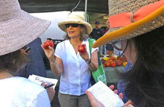 Amelia Saltsman leads a tour at the downtown Santa Monica farmers' market where she shares her insider tips and favorite farmers.