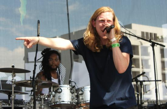 Asher Roth sings his hit song 'I Love College' on the east stage at the Sunset Strip Music Festival.