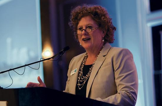DTSM CEO Kathleen Rawson addresses the audience at Thursday morning's Downtown Santa Monica