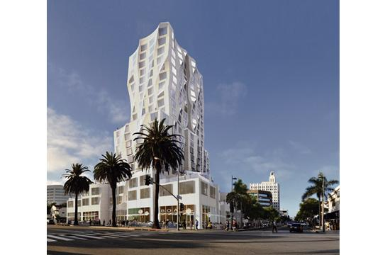 """A rendering of """"Ocean Avenue Project"""" that's proposed for the northeast corner of Ocean Avenue and Santa Monica Boulevard."""