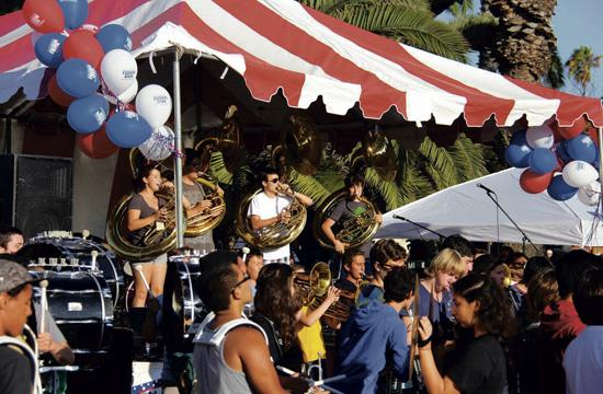 The Samohi Marching Band opened the National Night Out festivities in Santa Monica.