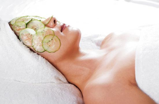 A perfect natural remedy is a cucumber mask. Peel the skin off of a fresh cucumber and puree the insides in a blender with one egg white.