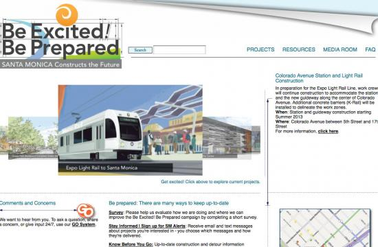 The City of Santa Monica's Be Excited! Be Prepared website was recognized by the Public Technology Institute.