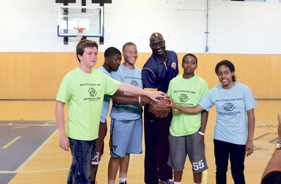 Former LA Lakers star Michael Cooper played basketball with members of the Boys and Girls Club of Santa Monica on Monday.