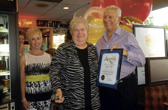 Santa Monica Mayor Pam O'Connor (center) celebrates Izzy's Deli's 40th birthday with Marilyn and Izzy Freeman at last Friday's anniversary party.