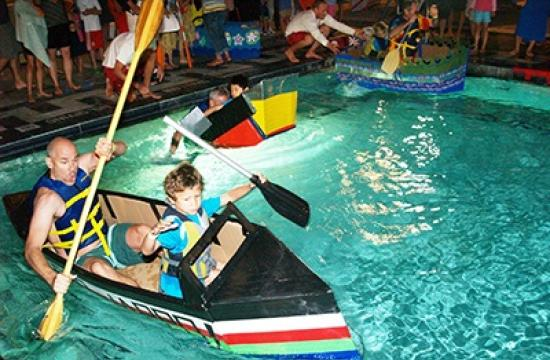 Cardboard yachts will race at the Annenberg Community Beach House pool tonight.