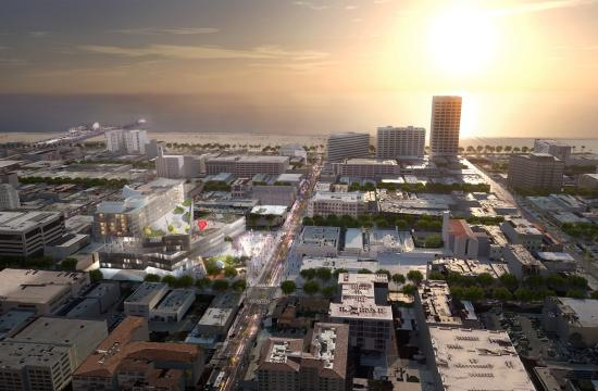 A rendering of the Rem Koolhaas/OMA proposal for 4th/5th Street and Arizona in Santa Monica.