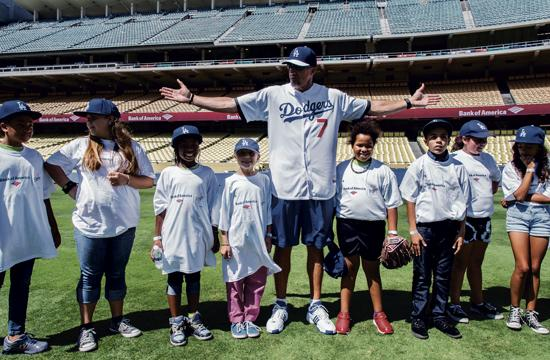 Dodgers legend Billy Ashley on Wednesday with several of the club members.
