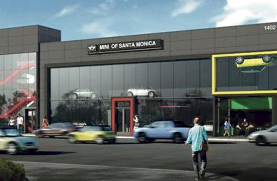 A rendering of the proposed MINI dealership at the corner of 14th Street and Santa Monica Boulevard.