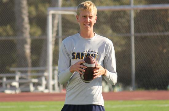 Samohi Vikings quarterback Jordan Detamore tosses around the football during summer ball at Santa Monica High School.
