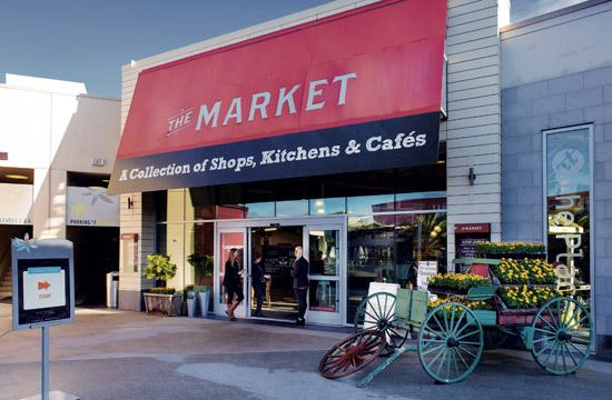 The Market is located on the third floor Dining Deck of Santa Monica Place.