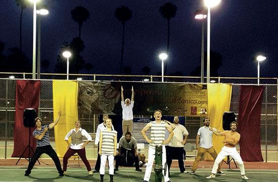 """Shakespeare Santa Monica """"Twelfth Night"""" players perform on the tennis court at Reed Park in Santa Monica."""