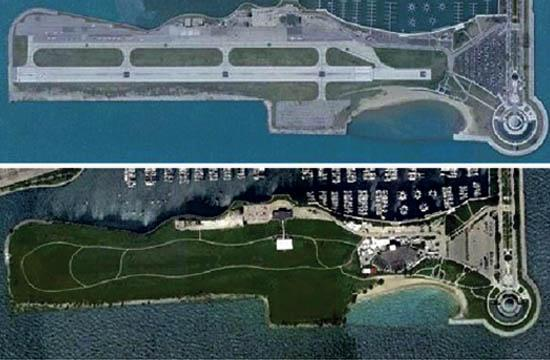 A coalition of Santa Monica residents and groups hopes Santa Monica Airport's future is the same as Meigs Field Airport in Chicago. This single strip airport operated from December 1948 until March 2003 until it was closed and a park created after the Chicago Park District refused to renew the airport lease.