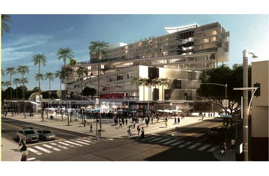 A rendering of Metropolitan Pacific Capital's proposed mixed-use development for the southeast corner of 4th and Arizona.