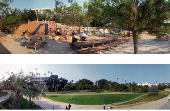 Tongva Park opened Tuesday as a family friendly destination with plenty of child friendly play spaces.