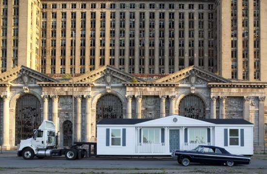 'Mobile Homestead' in front of the abandoned Detroit Central Train Station