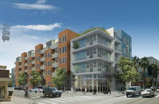 A rendering of the residential and commercial mixed use project at 3032 Wilshire Boulevard with 20 affordable residential units.