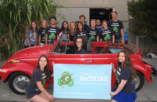 Santa Monica High School students converted a classic combustible into charged centerpiece.