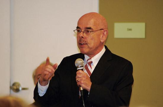 Congressman Henry Waxman spoke in front of more than 100 people Wednesday night at the Santa Monica Main Library's community room. The Santa Monica Democratic Club hosted the event.