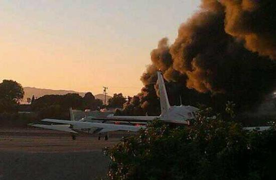 A twin-engine plane crashed at Santa Monica Airport on Sunday evening at 6:20 pm. It veered right into a hangar after landing.