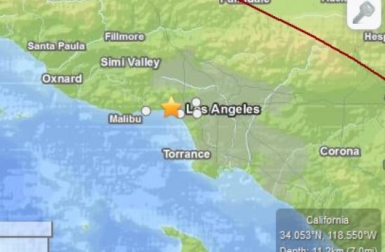 The 2.0 magnitude earthquake struck four miles north-west of Santa Monica at 8:43 pm Sunday.