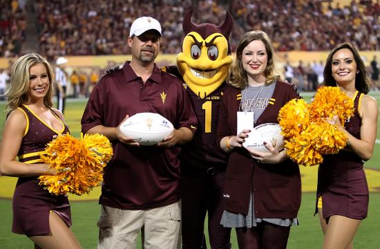 Jamie Boggs (third from left) was recognized in honor of ASU Online students at the rivalry game between the ASU Sun Devils and the USC Trojans on Saturday.