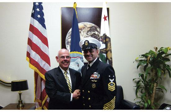Santa Monica native Terence Byrnes (right) reenlisted with the United States Navy for the final time Oct. 9 at a ceremony on Capitol Hill with Congressman Henry Waxman.