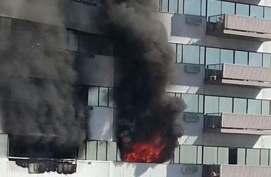 Flames were isolated to two units at 11740 Wilshire Boulevard in West Los Angeles.