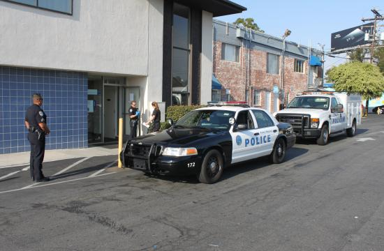 Santa Monica detectives are on scene following an armed robbery at the U.S. Bank branch at 3302 Pico Boulevard.