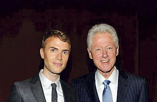 "Shane Bitney Crone with President Bill Clinton who introduced ""Bridegroom"