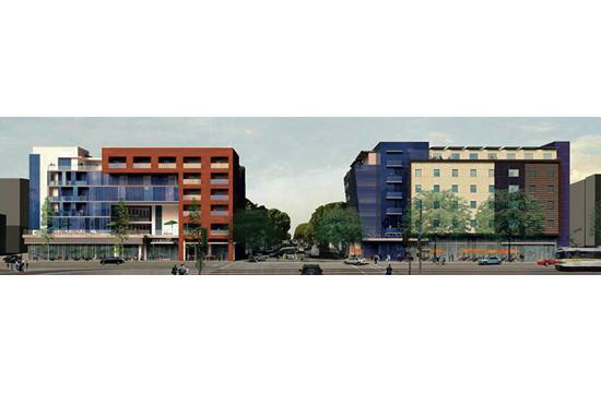 A rendering of 1554 5th Street (Courtyard by Marriott) and 501 Colorado Avenue (Hampton Inn). The City Council will decide the fate of these projects on Tuesday night.