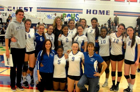 Pacifica Christian volleyball team after defeating Cate to advance to the 2013 CIF Southern Section Division 4-A championship game.