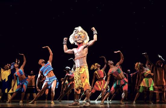 Jelani Remy (center) stars at Simba in the current production of 'The Lion King' on stage at the Pantages Theatre in Hollywood.