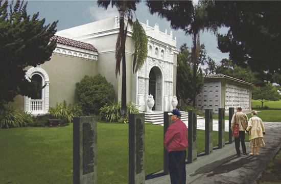 A rendering of the proposed War Memorial for Woodlawn Cemetery in Santa Monica.
