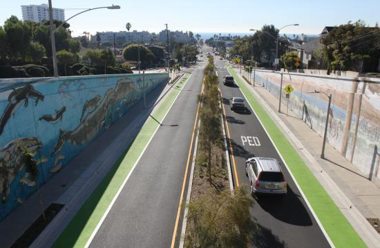 The green bike lanes on Main Street and Broadway will be installed using the same material and color that was used on the Ocean Park Complete Green Street project (pictured).