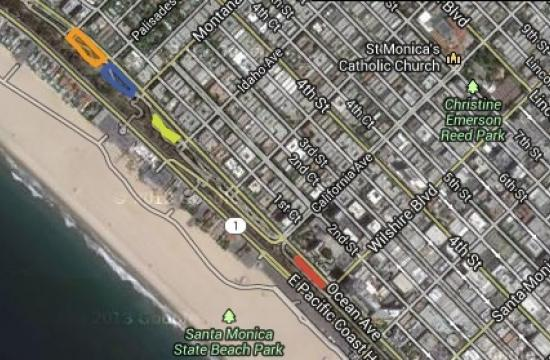 The four Palisades Park training zones are Palisades Avenue to Alta
