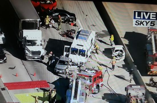 A multi-vehicle crash blocked the southbound 405 Freeway at Sherman Way.