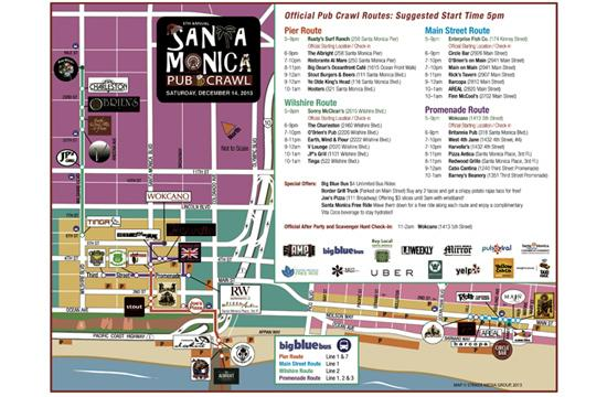 There are four routes that are part of the 5th Annual SANTA Monica Pub Crawl on Saturday. Organizers say that it will be easier getting a drink at venues along the Pier Route as these bars are larger.