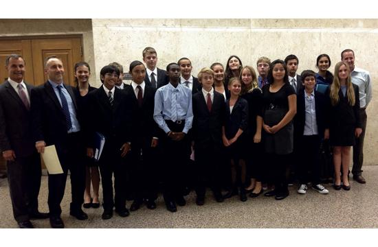 The John Adams Middle School mock trial team finished third place in a competition last week.