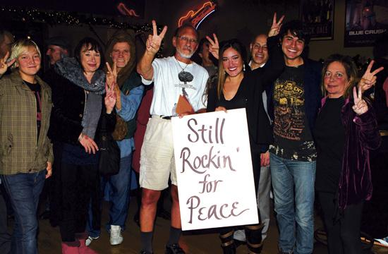 """Jerry Rubin (center) celebrated his 70th birthday with a """"Save Chain Reaction"""" benefit party at Rusty's Surf Ranch."""