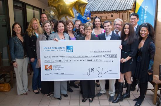 Dun and Bradstreet Credibility Corp. held a lunch celebration Wednesday to present the Santa Monica-Malibu Unified School District with a check for $150