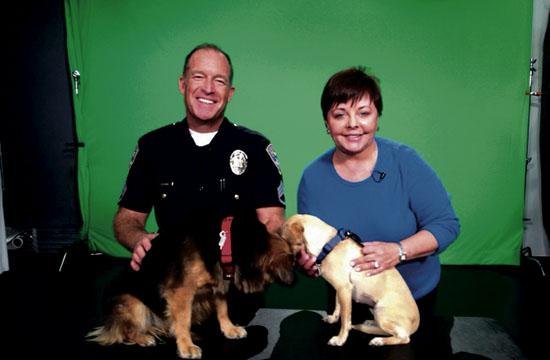 Sgt. Mike from the Santa Monica Animal Shelter and Barbara Bishop on set at City TV.