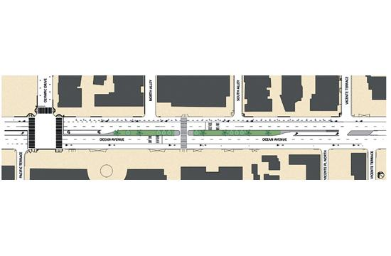 Ocean Avenue between Olympic Drive and Vicente Terrace will be under construction for up to four weeks for upgrades.