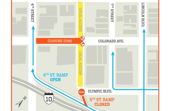 The 5th Street ramp from the 10 Freeway and Colorado between 4th and 5th Street will be closed for 10 days