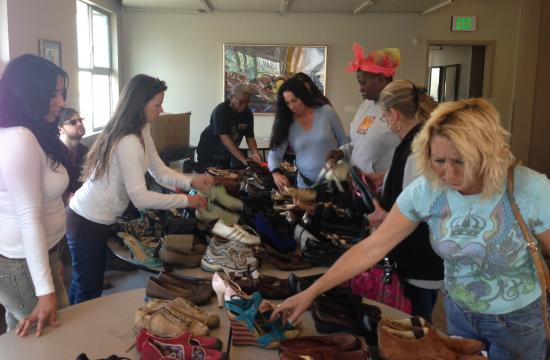 Cherished Feet distributed shoes to homeless women in Santa Monica.
